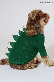 Accessorize Green Dinosaur Dog Jumper