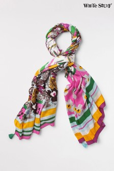 White Stuff Purple Claudia Printed Crepe Scarf