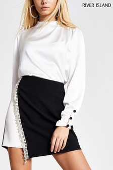 River Island Mono Diamanté Tux Mini Skirt