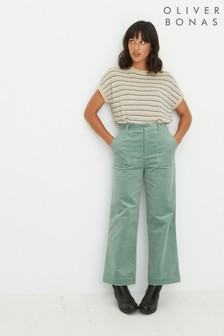 Oliver Bonas Corduroy Green Cropped Wide Leg Trousers