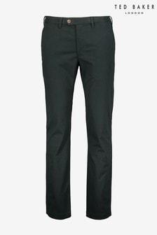 מכנסי כותנה בגזרה צרה דגםSeenchi בצבע ירוק שלTed Baker