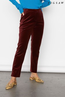 Jigsaw Red Paris Velvet Trousers