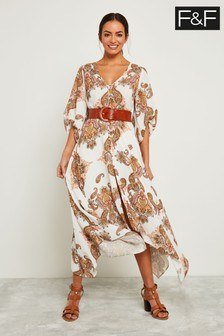 F&F Ivory Paisley Print Maxi Dress