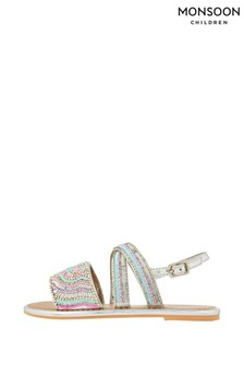 Monsoon Allie Silver Beaded Sandals
