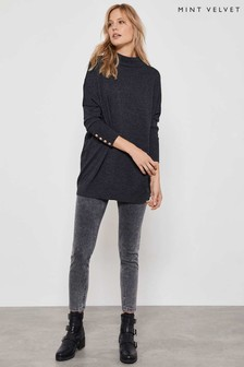Mint Velvet Grey Button Cuff Batwing Knit Tunic