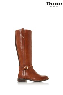 Dune London Tylar Chestnut Leather Double Knee High Boots
