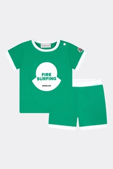 Moncler Enfant Baby Boys Green Cotton Set