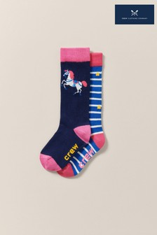 Crew Clothing Blue Knee High Bamboo Socks Two Pack