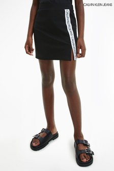 Calvin Klein Jeans Black Logo Tape Punto Skirt