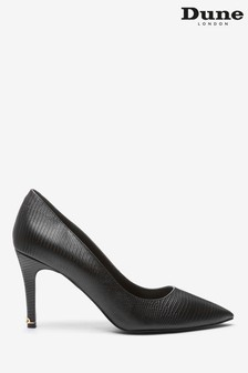 Dune London Black Anna Synthetic Signature Heel Court Shoes