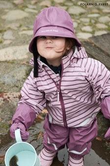 Polarn O. Pyret Pink Striped Waterproof Rain Jacket