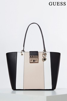Guess Black, White And Tan Kamryn Tote Bag
