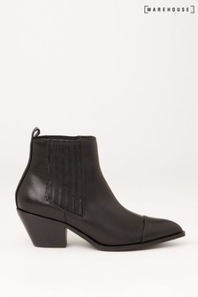 Warehouse Black Faux Leather Ankle Boots