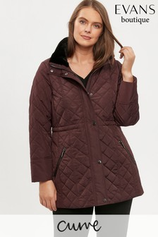 Evans Curve Plum Faux Fur Collar Padded Coat