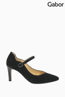 Gabor Black Mina Suede Court Shoes