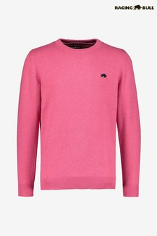 Raging Bull Pink Crew Neck Cotton/Cashmere Sweater
