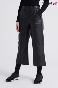 Superdry Black Leather Trousers