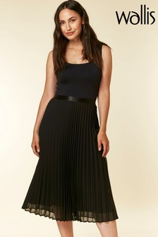 Wallis Black Pleated Midi Skirt