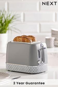 Geometric 2 Slot Grey Toaster