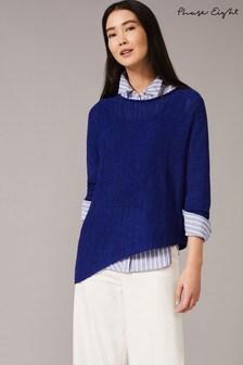 Phase Eight Blue Evangeline Asymmetric Knitted Jumper