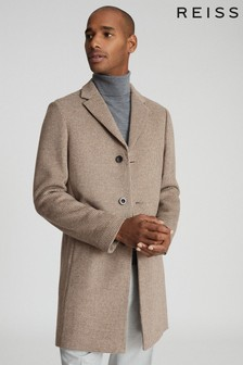 Reiss Natural Barbera Wool Blend Checked Overcoat