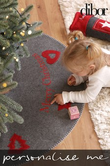 Personalised Grey Heart And Stars Tree Skirt by Dibor