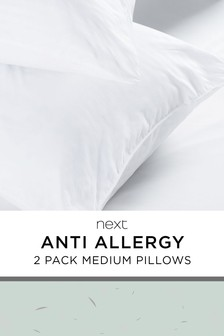 Set of 2 Anti Allergy Medium And Antibacterial Pillows