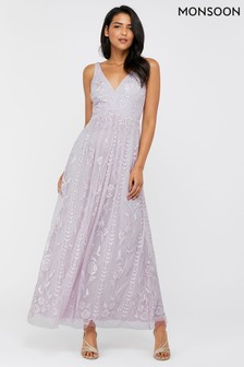 Monsoon Purple Lavinia Embroidered Maxi Dress