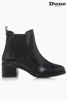 Dune London Parker Black Mid Block Heel Ankle Boots