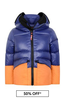 Boys Blue Down Padded Jacket With Detachable Full Mask