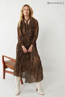 Warehouse Black Feather Print Midi Dress