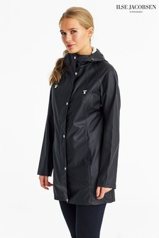 Ilse Jacobson Black Longline Waterproof Raincoat