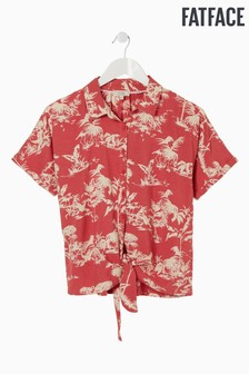 FatFace Red Cali Flamingo Tie Front Shirt