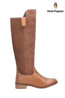 Hush Puppies Tan Alani Zip Up Long Boots