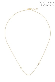 Oliver Bonas Gold Plated Lovable Interlinked Hearts Chain Necklace