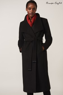 Phase Eight Black Thea Wool Trench Coat