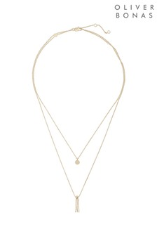 Oliver Bonas Gold Plated Allie Double Row Necklace