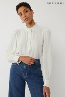 Warehouse Cream Ruffle Neck Blouse