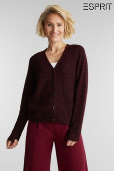 Esprit Womens Red Long Sleeved Alpaca Cardigan