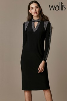 Wallis Black Insert Mid Dress