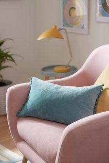 Soft Velour Pom Edge Rectangle Cushion