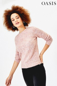 Oasis Pink Mia Cable Knit Jumper