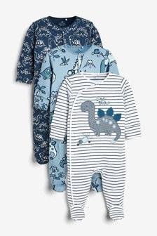 3包裝汽車連身睡衣 (0個月至2歲)