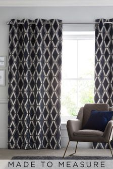 Luxe Cut Velvet Navy Made To Measure Curtains