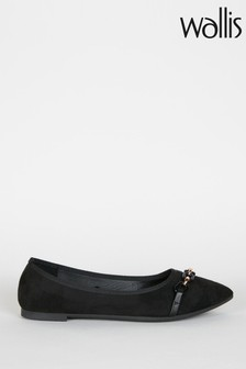 Wallis Black Brooklyn Black Chain Trim Ballerinas