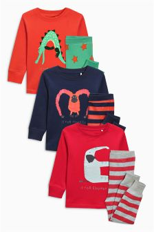 Alphabet Animal Snuggle Fit Pyjamas Three Pack (9mths-8yrs)
