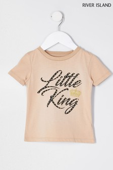 River Island Stone Little King Crown T-Shirt