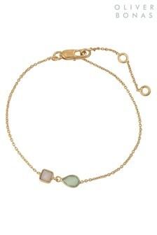Oliver Bonas Blue Agate & Aqua Gold Plated Chain Bracelet