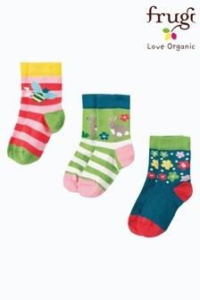 Frugi Pink Organic Socks Three Pack In Pink, Rabbit And Deer Designs