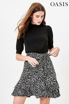 Oasis Black 2-In-1 Skater Dress